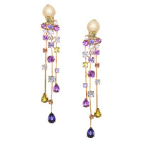 Chanel La Pluie Rose Gold Cascading Diamond and Sapphire Earrings