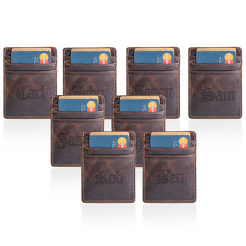 Leather Credit Card Wallet - 8 Leather Wallets, Groomsmen Gifts, Gifts for men, boyfriend gift, father gift, mens gift  (Set of 8)
