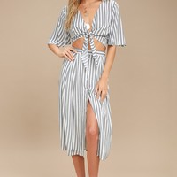 Plein de Vie Grey Striped Two-Piece Midi Dress