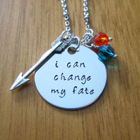 "Disney's ""Brave"" Inspired Necklace. Merida quote ""I can change my fate"". Silver colored, Swarovski crystals, for women or girls"