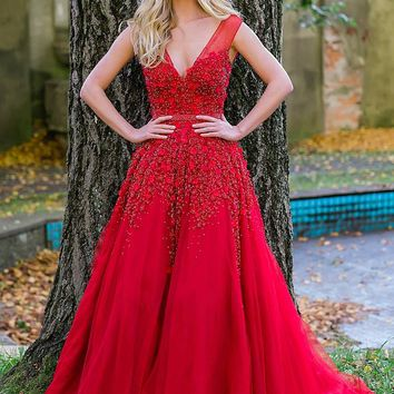 Red Lace Applique V Neck Couture Dress 51505