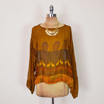 Vintage 90s 70s Brown Sheer Paisley Print India Blouse India Top India Shirt India Tunic Ethnic Blouse 70s Hippie Blouse Hippy Boho M L XL