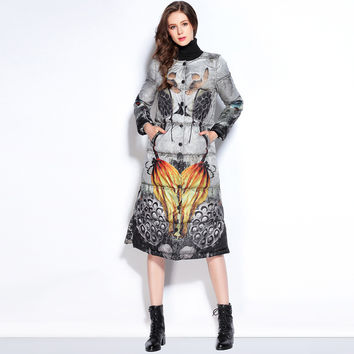 Europe Fashion 2016 New Arrival Warm A-Line Full Sleeve Single Breasted  Grey Turtleneck Lotus Root Print X-Long Down Coat Women