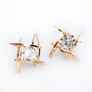 Crystal and Gold Metal Geometric Fashion Earrings