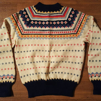Vintage Paul Mage Sweater 1980s Sweater Fair Isle Pattern Sweater Handmade Knit Sweater Made in Denmark Sweater Cute Sweater