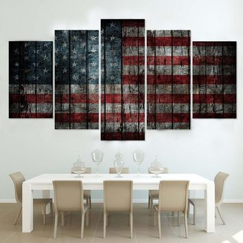 5 Panel Distressed American Flag Canvas Wall Art Panel Print Living Room