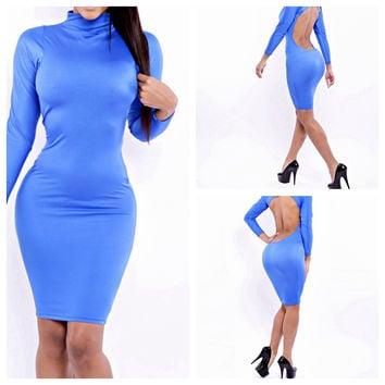 Blue Long Sleeve Backless Bodycon Mini Dress