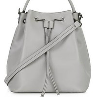 Premium Large Leather Duffle Bag - Grey