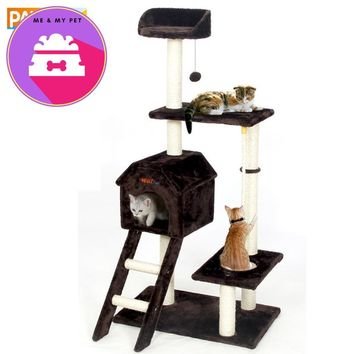 Pawz Road H139cm Cat Jumping Toy with Ladder Scratching Solid Wood for Cats Climbing Frame 3 Colors Pet Toy with Ball