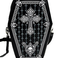 Gothic Cross Coffin Bag with Embroidered Design Fashion Purse Backpack