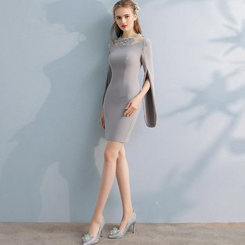 Elegant Gray Full Cap Sleeve Cut-out Sequined Cocktail Dresses Knee Length Formal Dress Party Gown