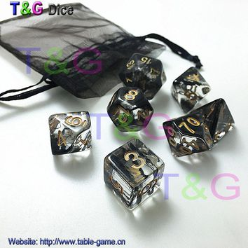 Hot New 7PC Set Brand New Dice Polyhedral Nebula D&d Game plus POUCH BAG d4 d6 d8 d10 d12 d20 dice set Gift Toy GAME DICE