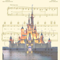 Disney World/Disneyland Sheet Music Art Print