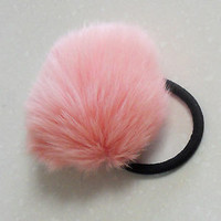 Gorgeous real fox fur fluffy large pink pom pom hair scrunchie ponytail holder