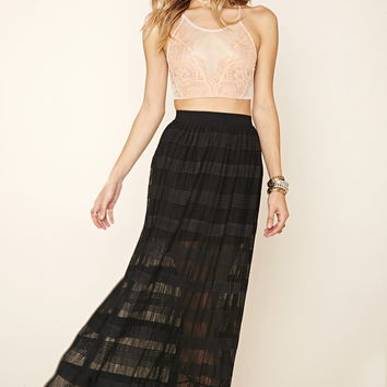 Tonal-Striped Maxi Skirt