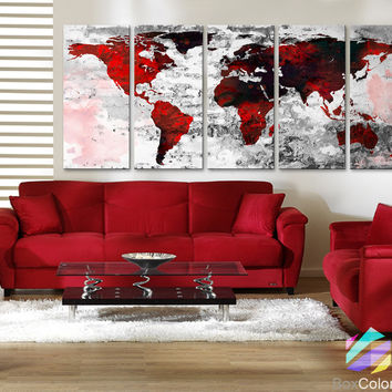 """XLARGE 30""""x70"""" 5 Panels Art Canvas Print Watercolor Texture Map Old brick Wall color red black white decor Home interior (framed 1.5"""" depth)"""