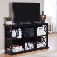 Black Entertainment Center TVstand with Audio Video Storage Shelves