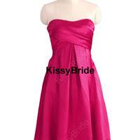 Short bridesmaid dress - hot pink bridesmaid dress baby blue / short evening dress / satin evening gown / hot pink party dress