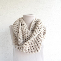 Bubble Infinity Scarf Loop Circle Wool Scarf Thick Knit Scarf Beige 24 Color Options