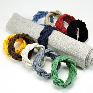 Sailor Knot Napkin Rings, Nautical Colors, Set of 4