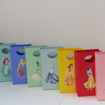 8 Disney Princesses Party Favor Bag - Candy Bag-Treat Bag- Goody Bag-Disney Princessesy- Girl Birthday Bag-Disney Princesses Favor Gift Bag
