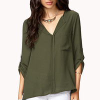 High-Low Button Tab Blouse