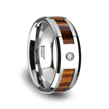Real Zebra Wood Inlay Tungsten Engagement Ring with Diamond