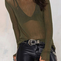 Green Sheer Mesh Long Sleeve Blouse