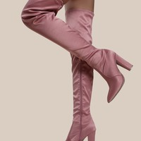 Point Toe Satin Thigh High Boots BLUSH