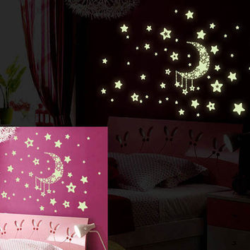LP 20*25cm Y0015 Free Shipping Luminous fluorescent stickers Moon and stars Wall Sticker Wall Mural Home Decor Room Moon Star
