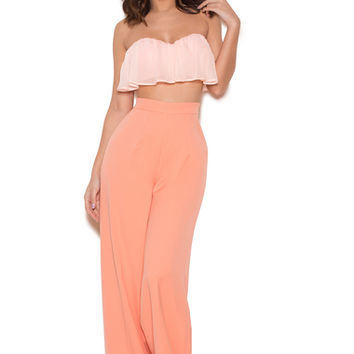 Clothing : Bottoms : 'Calle' Peach Wide Leg Trousers