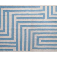 Maze Dhurrie, Sand/Blue, Area Rugs