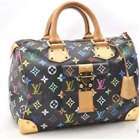 Auth Louis Vuitton Monogram Multicolor Speedy 30 Black Hand Bag M92642 LV 36599