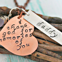 "Remembrance Jewelry, Memorial Necklace, Loss of Loved One, ""i thank god for memories of you"" Philippians 1 3, Hand Stamped Necklace"