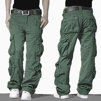 PODOM Men's Baggy Tactical Cargo Pants