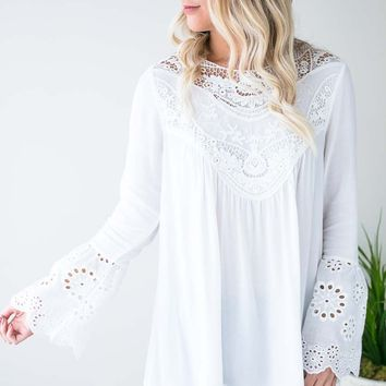 Falling For Lace Bell Sleeve Top - Ivory