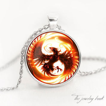 PHOENIX NECKLACE phoenix pendant phoenix jewelry fire bird necklace glass pendant fire charm