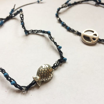 boho style adjustable anklets with peace sign charm and fish charm small blue and clear beads choose one
