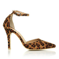 NEW YORK Leopard Print Ankle Strap Pointed High Heel Court Shoes