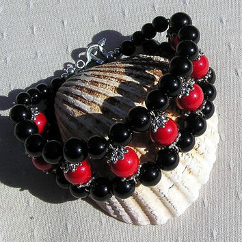 "Gemstone Cuff Bracelet, Natural Red Coral & Black Onyx ""Scarlet Pimpernel"""