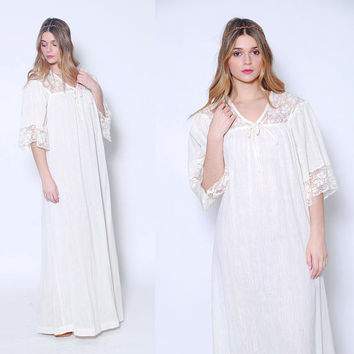 Vintage 70s Cotton GAUZE Maxi Dress CROCHET Lace Dress Hippie Dress Boho WEDDING Dress