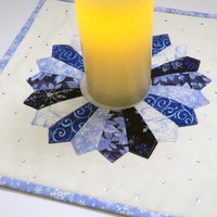 """Winter Candle Mat - Dresden plate design - Quilted - Bling - 12"""" x 12"""""""