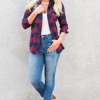 September Nights Plaid Jacket (Red)