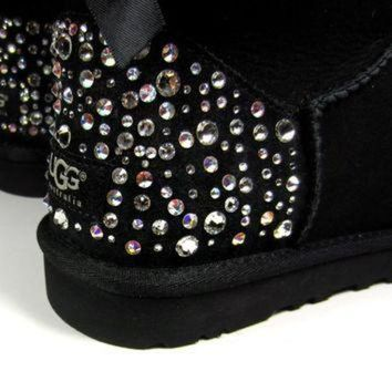 ICIK8X2 EXCLUSIVE - Swarovski Crystal Embellished Bailey Bow Uggs in Sparkly Night (TM) Toddle