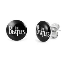 The Beatles Stainless Steel Stud Earrings (Diameter 10mm, Pair, Black)