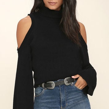 Spoiler Alert Black Turtleneck Sweater