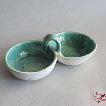 Double Dip Bowls - White and Seafoam