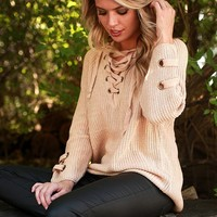 Sugar and Spice Lace Up Sweater in Tan
