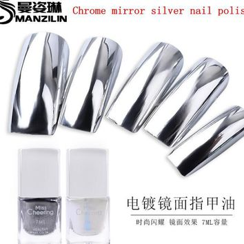 7ML Chrom Mirror Silver Nail Varnish Nail Polish Base Coat Peel Off Metal Nail Varnish Metallic Manicure Nail Art Polish