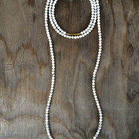 Long Beaded Double Wrap Choker Collar Necklace with White Grey Howlite Turquoise Marble Like Beads and Gold Tube Pendant